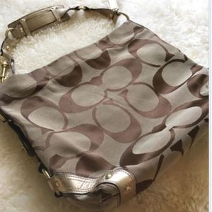 COACH Carly J0726-10620  Brown Jacquard Purse